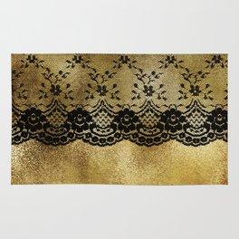 Black floral elegant lace on gold metal background Rug