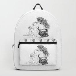Chilling Out a Fervour Line Drawing by OLena Art Backpack