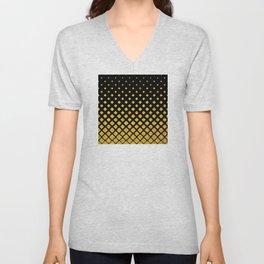 Art Deco Glitter-Gold Diamonds on Black Pattern Unisex V-Neck