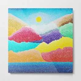 The Creation Of The Mountains by God in Jewel Tones landscape painting by Ariel Chavarro Avila Metal Print