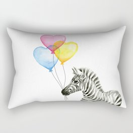 Zebra Watercolor With Heart Shaped Balloons Whimsical Baby Animals Rectangular Pillow
