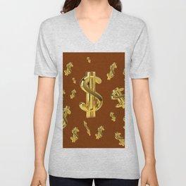 FLOATING GOLDEN DOLLARS  IN COFFEE BROWN DESIGN Unisex V-Neck