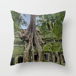Ruins of Angkor Wat Temple Being Overgrown by Ancient Roots of Banyan Tree Throw Pillow