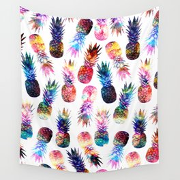 watercolor and nebula pineapples illustration pattern Wall Tapestry