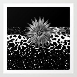 Animal Print Cheetah Black and White Pattern and Silver Medallion Art Print