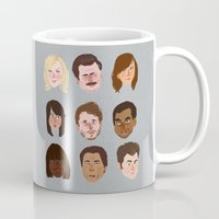 parks and rec Mugs featuring Parks and Rec by Emma Ehrling