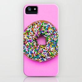 Hyperreal Sprinkled Donut on Pink iPhone Case