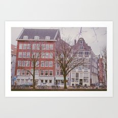 A rainy day in Amsterdam Art Print