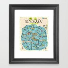 Bangalore City Map Framed Art Print