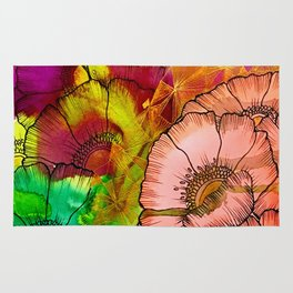 Modern Flowers and Shapes - Mixed Media Rug