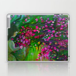 Little Girl Picking Flowers For Mom Laptop & iPad Skin