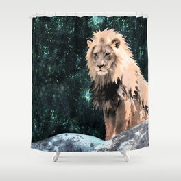 Lion King of the Emerald Panthera Galaxy Shower Curtain