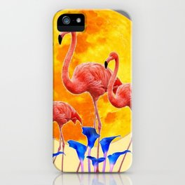 PINK FLAMINGOS FULL MOON BLUE LILIES iPhone Case
