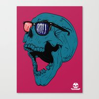 rock n roll Canvas Prints featuring Rock N' Roll Skull by Diseños Fofo