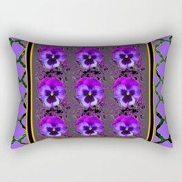 GARDEN OF PURPLE PANSY FLOWERS BLACK & TEAL PATTERNS Rectangular Pillow