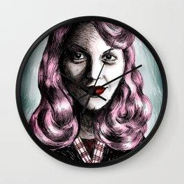 Sylvia Plath_Pink Blue Wall Clock