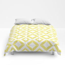 Abstract geometric pattern - gold and white. Comforters