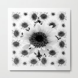 Black & White Abstracted Floral Art Metal Print