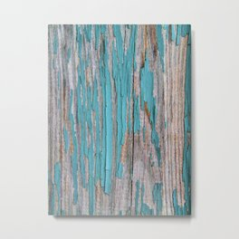 Rustic turquoise weathered wood shabby style Metal Print