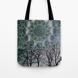 Turquoise Moon Phase Tote Bag