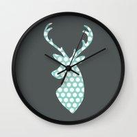 calendars Wall Clocks featuring Deer head, art, polka dot, modern, vintage by Shabby Studios Design & Illustrations ..