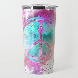 Colorful Painted Peace Symbol Hippie Style Travel Mug