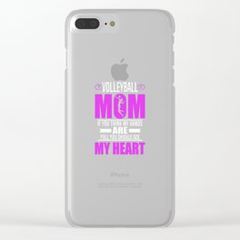 Volleyball Moms Full Heart Mothers Day T-Shirt Clear iPhone Case