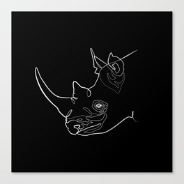 Rhino (black) Canvas Print