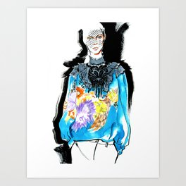 fashion #52: Girl in a blue blouse with flower print Art Print