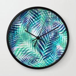 Palm Leaves - Indigo Green Wall Clock