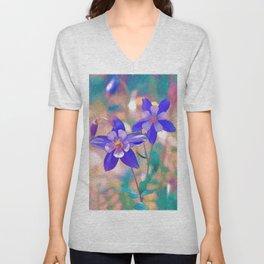 Colorado Columbine Flower Unisex V-Neck