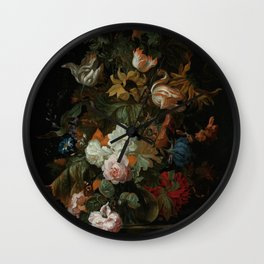 """Ernest Stuven """"Still life of flowers in a glass vase with a butterfly on a ledge"""" Wall Clock"""