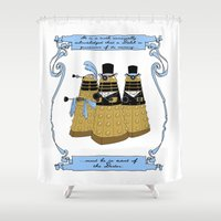 pride and prejudice Shower Curtains featuring Pride and Prejudice and Daleks by mikaelak