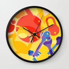 Lock and Key Pattern Wall Clock