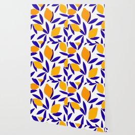 Blue and yellow Lemon Summery Pattern Wallpaper