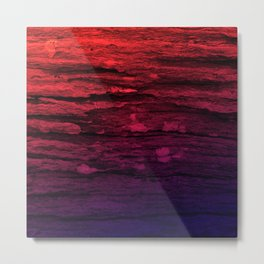 Red & Purple Wood Tree Bark Grunge Metal Print