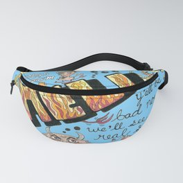 greetings from hell vintage retro postcard, blue yellow orange Fanny Pack