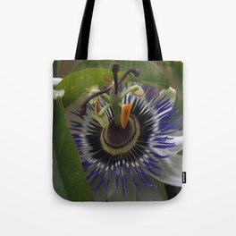 Side View of Beautiful Passiflora Flower Tote Bag