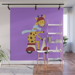Giraffe on Motor Scooter Wall Mural