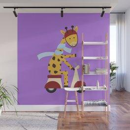 Giraffe on Motor Scooter Wall Mural