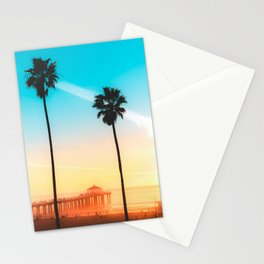 Sunset over California pier Stationery Cards