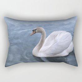 Drawing swan on blue lake water Rectangular Pillow