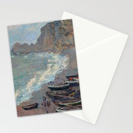 Boats on the Beach at Etretat by Claude Monet Stationery Cards