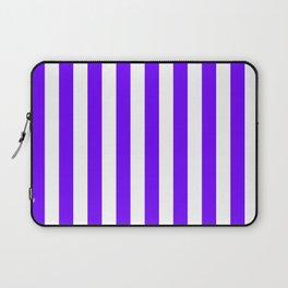 Narrow Vertical Stripes - White and Indigo Violet Laptop Sleeve