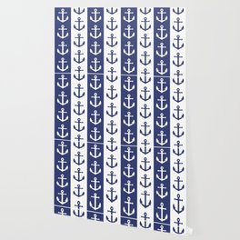 Nautical Sailor Stripes with Anchor Pattern Blue 241 Wallpaper