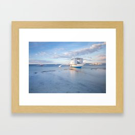 Traditional Filipino boats on the beach, Philippines Framed Art Print