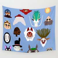 ghibli Wall Tapestries featuring The many faces of Ghibli by Rcdbstp21