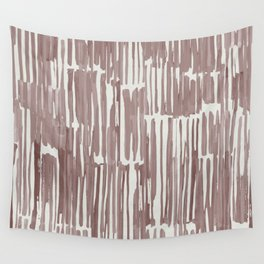Simply Bamboo Brushstroke Red Earth on Lunar Gray Wall Tapestry