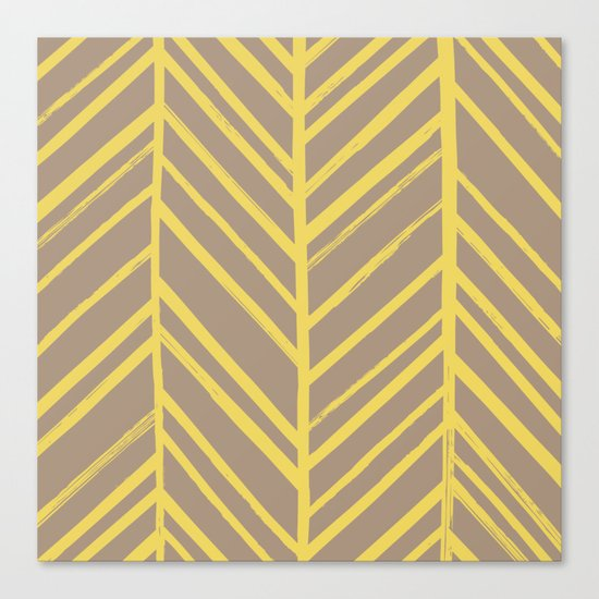 Painted Herringbone - in Marigold Canvas Print