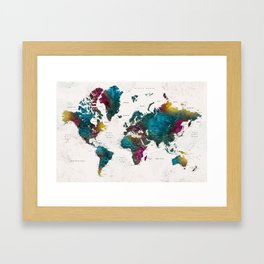 Watercolor world map with cities, Charleena Framed Art Print
